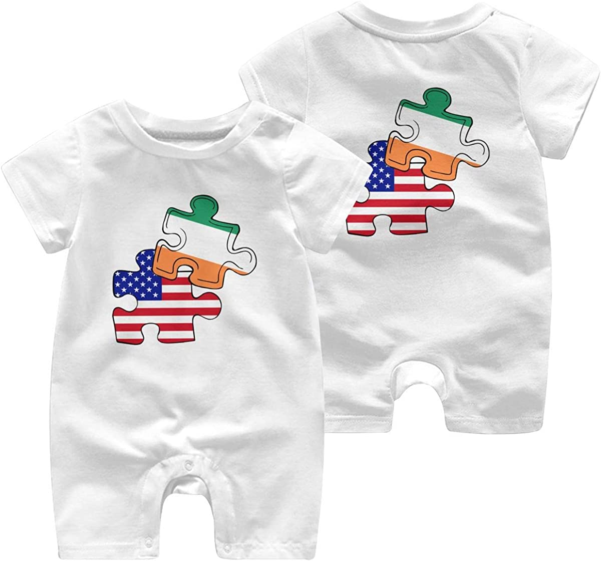 Mri-le1 Baby Boy Girl Coverall Irish American Flag Puzzle Piece Baby Clothes