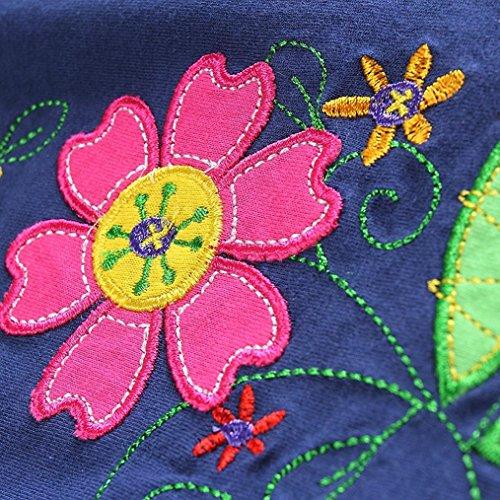 Kinder Baby Mädchen Kleider Longra Mädchen Blumen Langarm Baumwolle Kleid Kinder T-shirt Kleid Frühlings Babykleidung Kinderkleidung Festliche Kinderkleider Mädchenkleider Navy