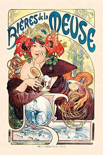 Bieres De La Meuse Poster by Alphonse Mucha 24 x 36in