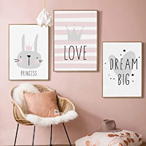 3Sets Pink Rabbit Princess Love Dream Big Crown Print Wall Art Décor, Letters Quotes Motto Canvas Print Poster, Pictures Paintings Wall Mural for Girls Kids room Décor,No Frames (12