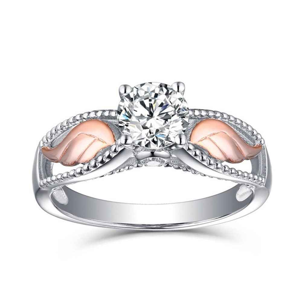 Meolin Angel Wings Rhinestone Solitaire Ring Cocktail Party Ring Bridal Wedding Band Women Jewelry (Size/ 6/7/8/9/10),Rose gold,Size 7