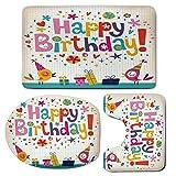 3 Piece Bath Mat Rug Set,Birthday-Decorations-for-Kids,Bathroom Non-Slip Floor Mat,School-Math-Note-Pad-Floral-Rainbow-Colored-Party-Quote-Print,Pedestal Rug + Lid Toilet Cover + Bath Mat,Multicolor