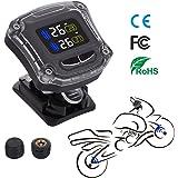 Autmor TPMS Sistema Monitore Pressione Pneumatico Senza Fili Avanzato Ricaricabile con USB Cavo, LCD Display, 2 sensore della Pressione dei Pneumatici, Vite Antifurto per Motocicli