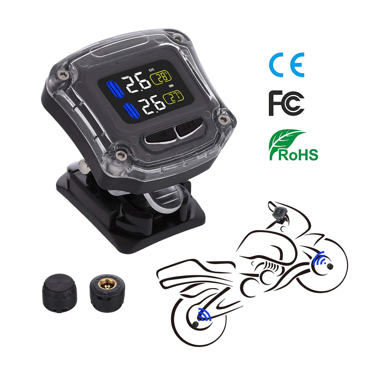 Tire Pressure Monitoring System TPMS Wireless Tire Pressure Monitoring Motorcycle Tires Motor Fatbike Bicycle Auto Tyre Alarm Waterproof with 2 External Sensors for Two-Wheeled Motorcycle by AUTMOR