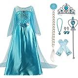 Enterlife Girls Elsa Costume Frozen Snow Queen Sequin Fancy Princess Dress Up for Birthday Party Halloween