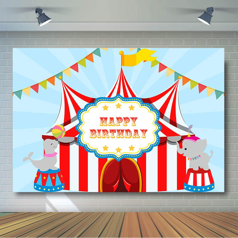 COMOPHOTO Circus Backdrops Carnival Birthday Party Backdrop Banner Dessert Table Decorations Photography Background Props