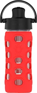 Lifefactory 12-Ounce BPA-Free Glass Water Bottle with Active Flip Cap and Protective Silicone Sleeve, Apple Red