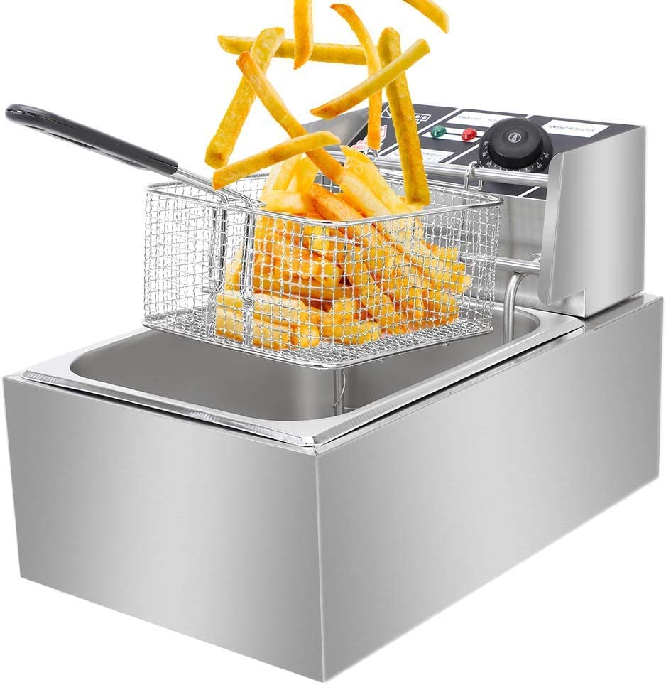Electric Deep Fryer Basket & Lid,Commercial Stainless Steel Deep Fryer,Countertop Kitchen Frying Machine, Stainless Steel French Fryer for Turkey, French Fries, Donuts (6L)