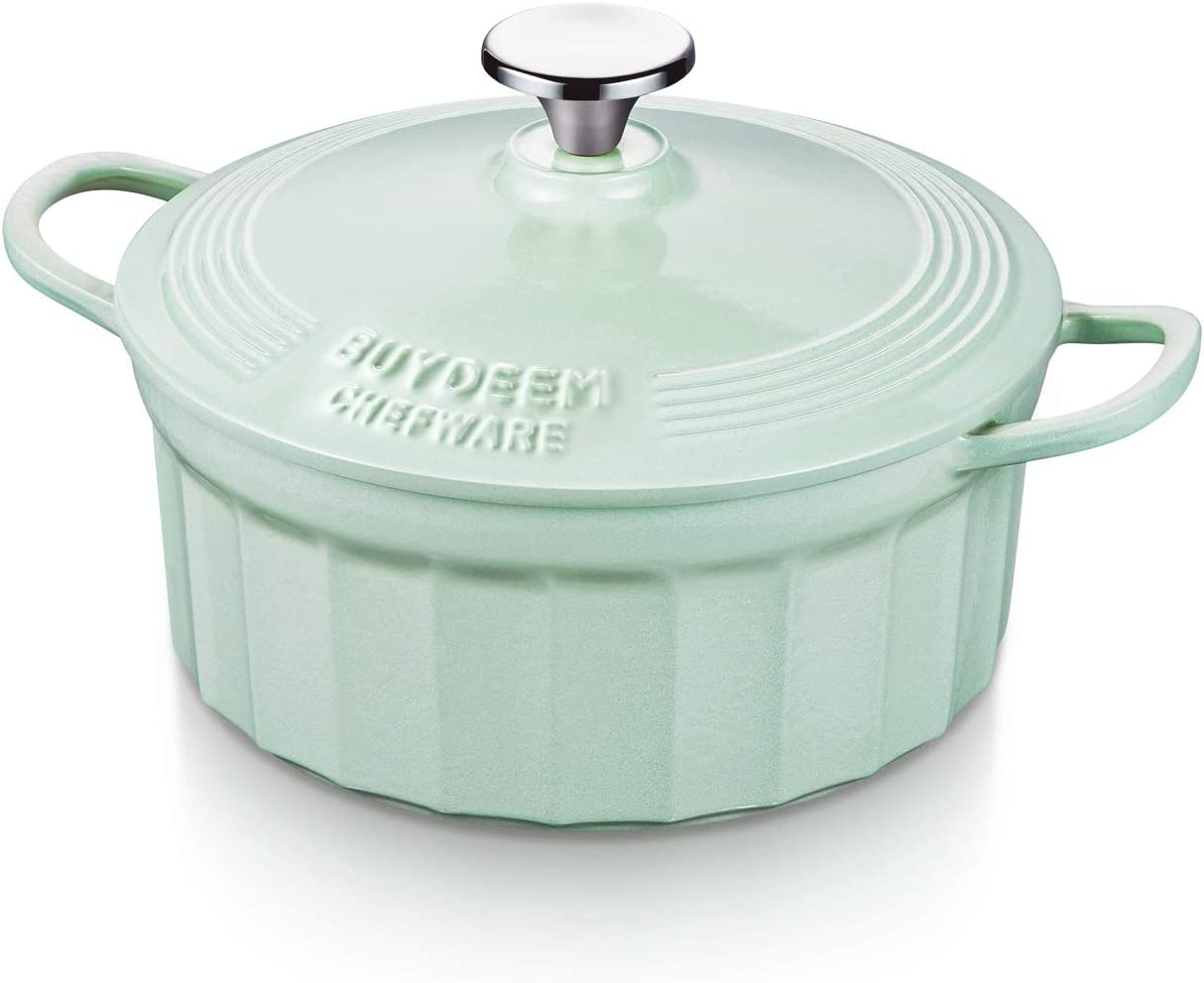 Buydeem CP521 3 Quart Dutch Oven, Enameled Cast Iron Dutch Oven with Stylish Cupcake Design, Round French Oven, Perfect for Bread Baking and Serving, Cozy Greenish