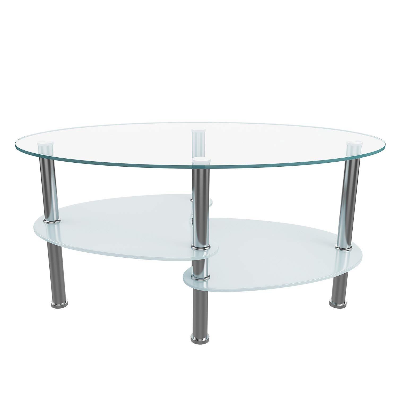 Amazon.com: Mesa de café de cristal con doble capa, tableros ...