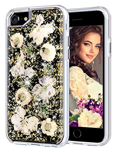 - Coolden Case for iPhone 8 Case iPhone 7 Glitter Case with Dried Flower Cute Women Girly Durable Shockproof 2 Layers Solid PC TPU Cover Case for iPhone 6 6s 7 8, Gold Flower