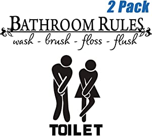 Finduat 2 Pack Bathroom Rules Wash Brush Floss Flush Quote Saying Wall Sticker, Washroom Toilet Bathroom WC Sign Door Accessories Wall Sticker Home Decal Decor for Bathroom Living Room