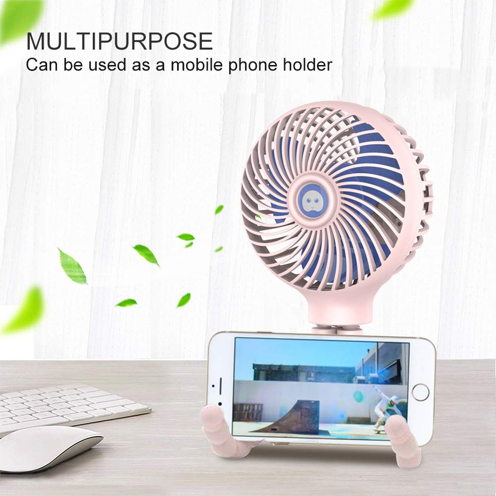 Mini Handheld Stroller Fan, HomoDesign Personal Portable Baby Bed Fan with Flexible Tripod, USB Rechargeable Desk Fan Adjustable 3 Speeds for Camping/Traveling/Office/BBQ/Gym (Pink) by HomoDesign (Image #7)