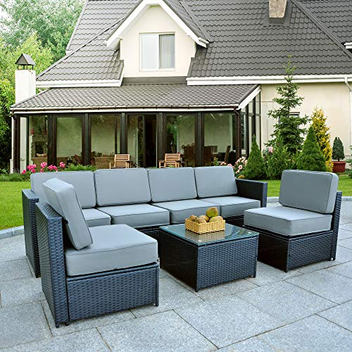 Mcombo Patio Furniture Sectional Wicker Sofa Set All-Weather Outdoor Black Rattan Conversation Chair Set with Thick Cushions(5.12Inch) and Tea Table Black 6085-1007EY