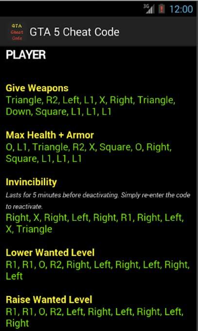 Cheats Code For GTA 5