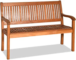 Tangkula Outdoor Wood Bench, Two Person Solid Wood Garden Bench w/Curved Backrest and Wide Armrest, Large Bench for Patio Porch Poolside Balcony, 50