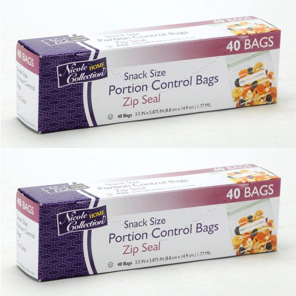 Portion Control Zip Seal Plastic Bags Value Pack 80 Count