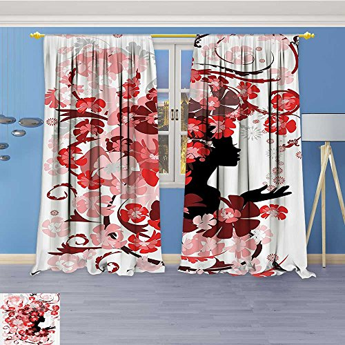 Vanfan 2 Panel Curtains Flower Girl With Hair Swirling Pink Blossoms Hair Dressers auty Feminine Linen Window Curtains Grommet Top 84W x 72L Inch