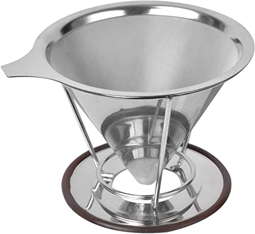 Reusable Coffee Filter Stainless Steel Mesh Pour Over Coffee Paperless Dripper Cone