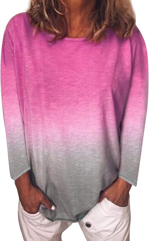 Camisas de túnica de Mujer Tops otoño Casual Manga Larga gradiente ...