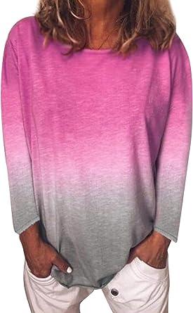 Camisas de túnica de Mujer Tops otoño Casual Manga Larga ...
