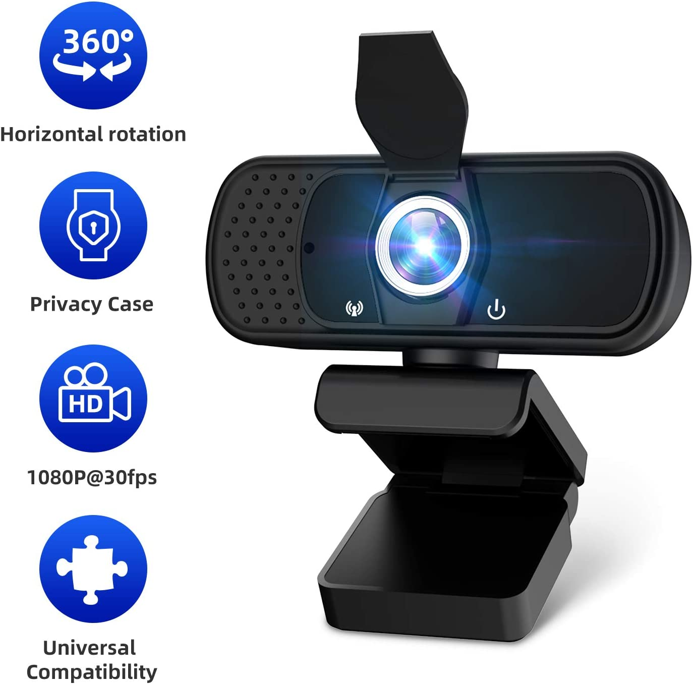 Stream 1080P Webcam with Microphone Web Cam USB Camera, Computer HD Streaming Webcam for PC Desktop & Laptop with Mic, Wide Angle Lens & Large Sensor for Superior Low Light