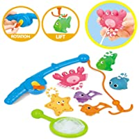 guoYL26sx Baby Toys 8Pcs Fishing Floating Squirts Animal Fish Net Educational Playset Kids Bath Toy - Multi-Color