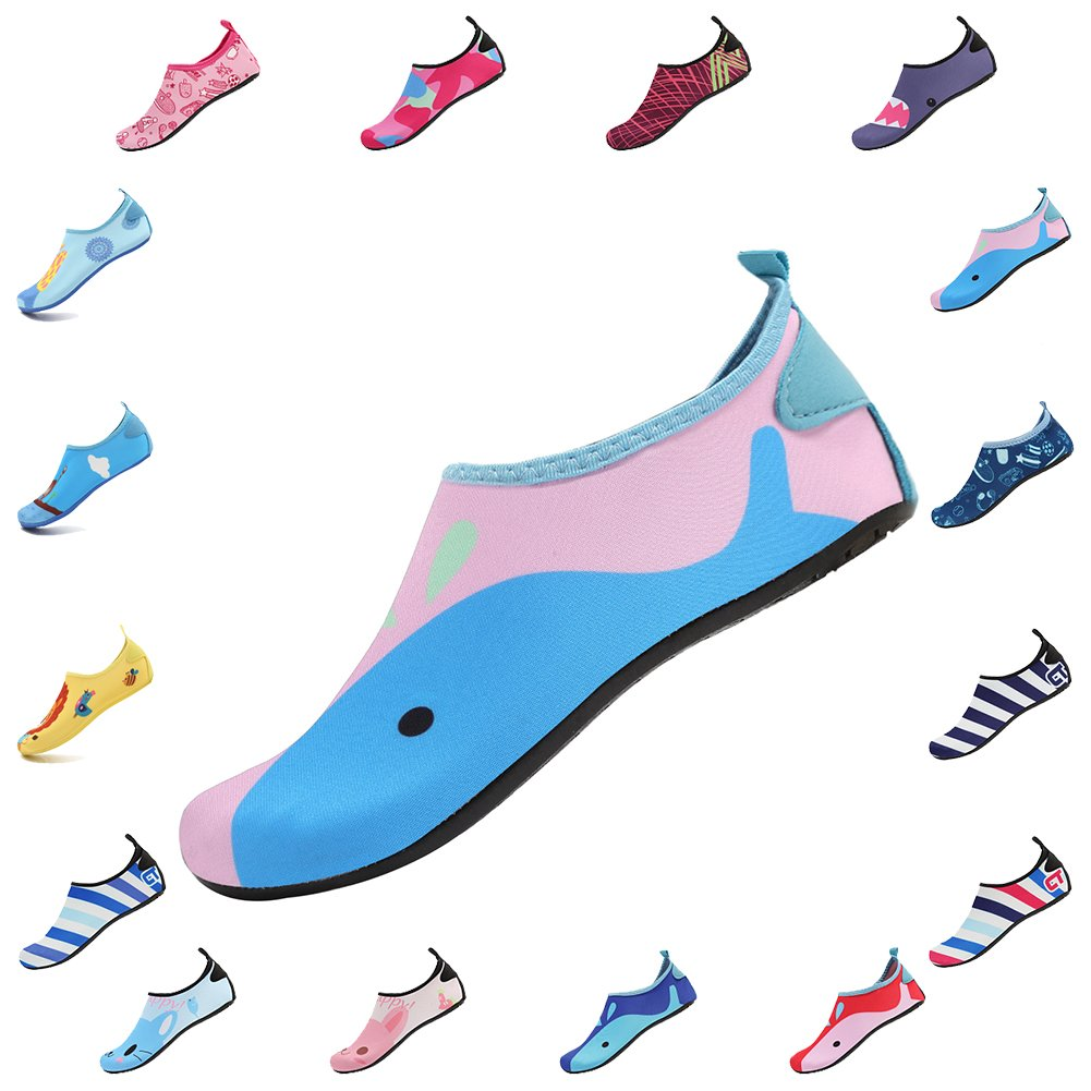 CIOR Kids Water Shoes Skin Barefoot Shoes Quick-Dry Mutifunctional Aqua Socks for Beach Pool Swim Surf Shoes,HT01,Pink02,22.23