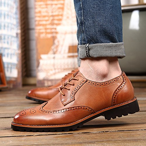Marron LOVDRAM Chaussures Hommes New Italian Brock Chaussures Hommes Retro Fashion Wild Souliers