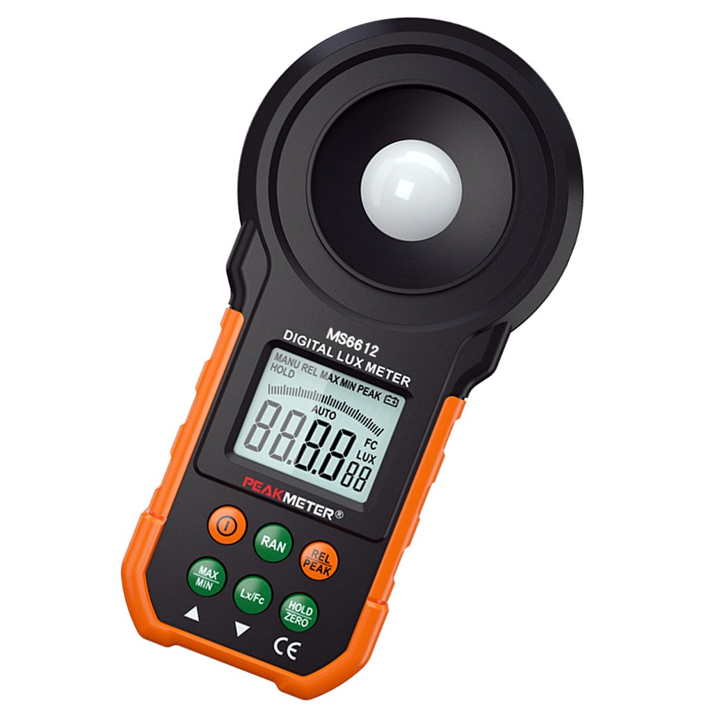 MagiDeal High Accuracy MS6612 Handheld Digital Illuminance/Light Meter, 0-200,000 Lux Luxmeter, Photometer Tester with LCD Display
