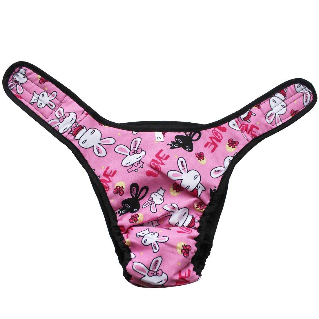 TiaoBug Reusable Washable Female Dog Pants Season Heat Menstruation Period Knickers Bitch Sanitary Nappy Underwear Briefs Pink M