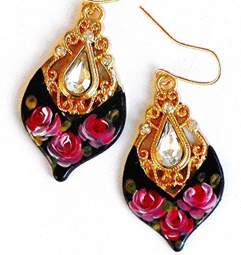 Romantic Teardrop Dangle Earrings with Hand Painted Roses