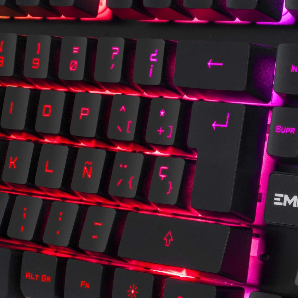 EMPIRE GAMING Teclado de PC Empire K300 QWERTY- 105 Teclas Semi-mecánicas con 19 Teclas Anti-gosthing 12 accesos directos Multimedia Retroiluminación LED ...