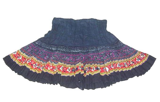 cb07c71c1 Falda Plisada Vintage de Mujeres Bordada a Mano de Tela Escocesa  232