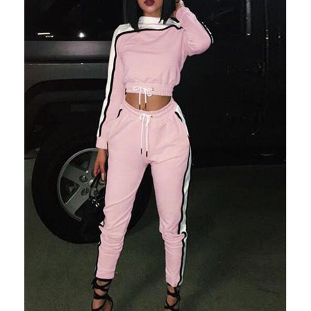 Hibote Frauen Trainingsanzug Set Langarm Streifen Sweatshirt Hoodies Pants Sport Anz/üge 2PCS Full Trainingsanzug Rosa