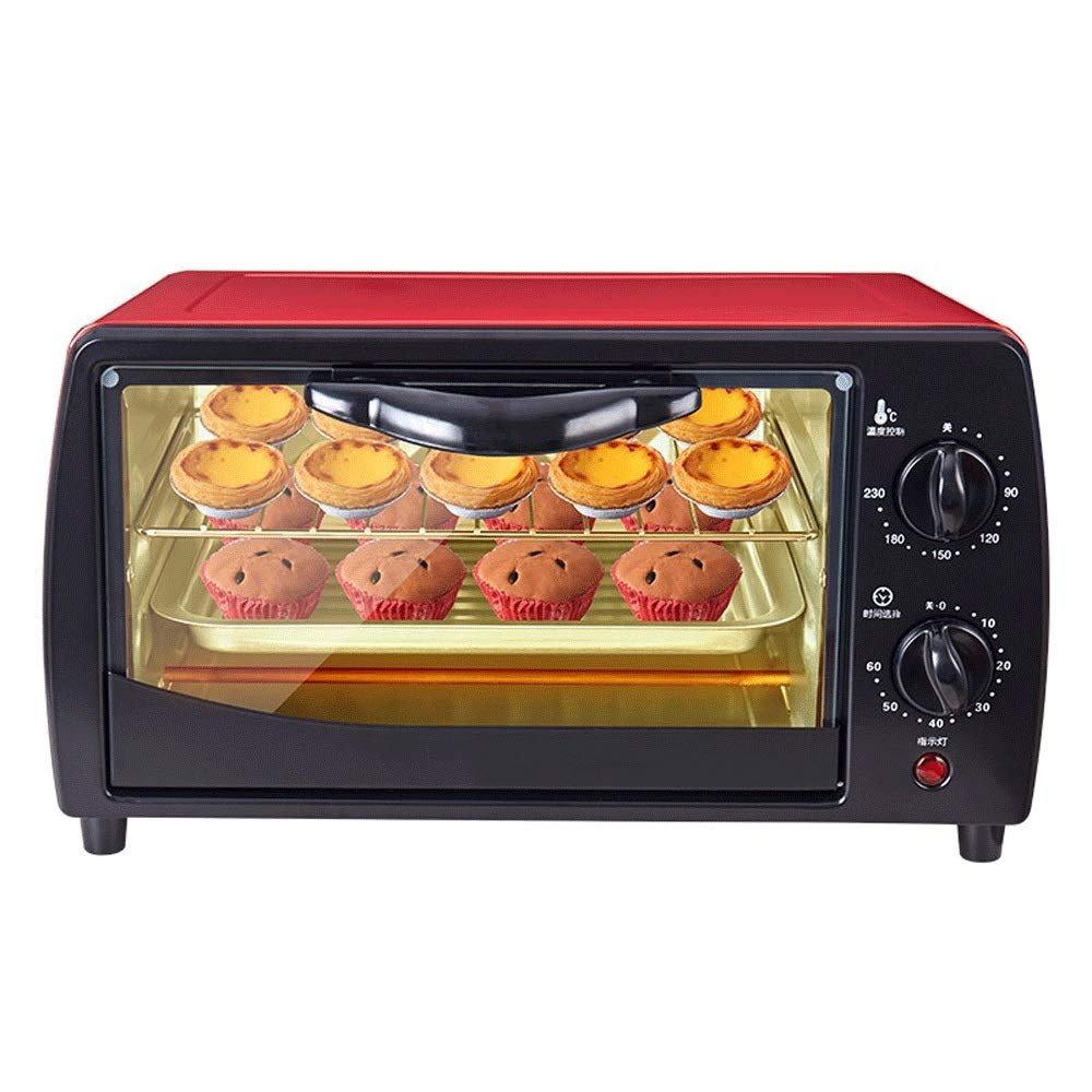 LQRYJDZ Mini 12L Oven Home,Multi-Function Stainless Steel with Timer, Toast, Bake, Broil Settings, Automatic Power-Off,Includes Baking Pan and Rack (Color : Red, Size : 23×20×36.5 cm) by LQRYJDZ