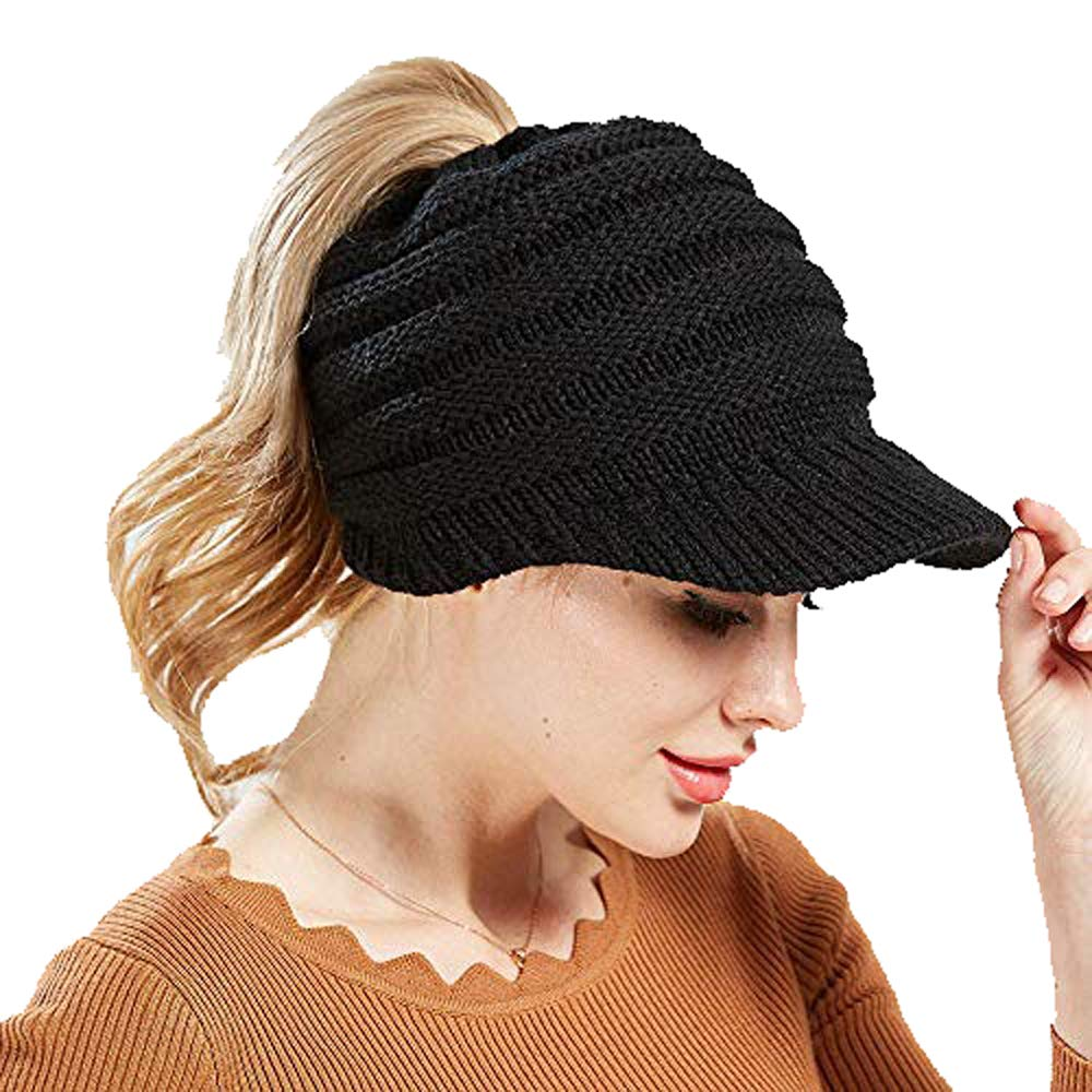 578b7acc526 Libertepe Ponytail Beanie Cable Knit Winter Hat with Visor Hole for Women  and Girls  13.99. Click ...