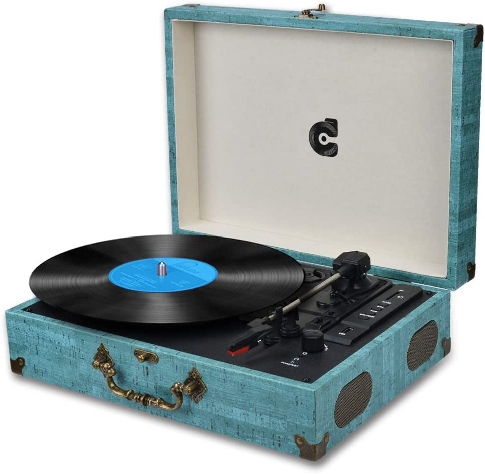 Portable Vintage Vinyl Record Player Stereo Turntable W// Speaker MP3 Turquoise