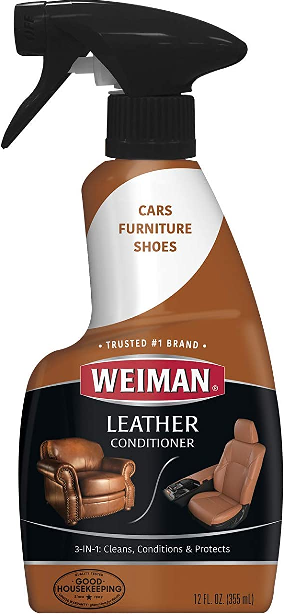 Weiman Leather Cleaner and Conditioner for Furniture - Cleans Conditions and Restores Leather Surfaces - UV Protectants Help Prevent Cracking or Fading of Leather Car Seats