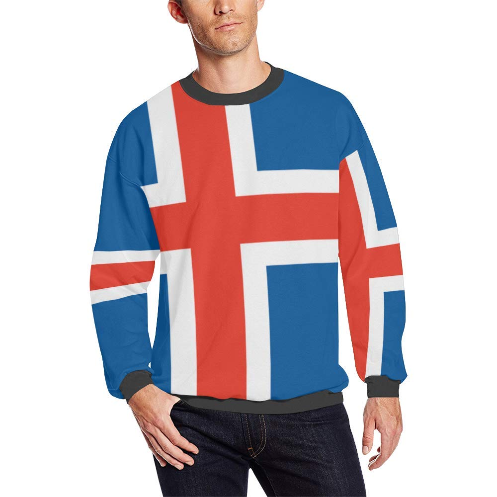 Iceland Flag Mens Fuzzy Pullover Sweatshirt