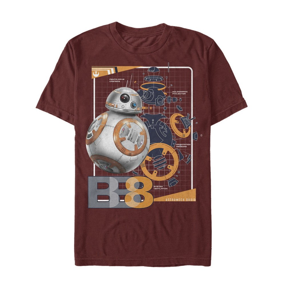 Star Wars The Last Jedi S Bb8 Schematics Tshirt