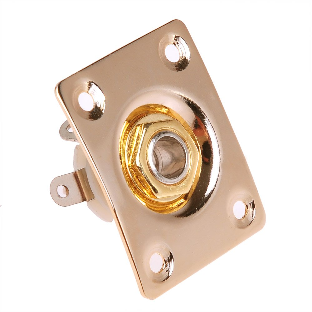 "1pc Square Gold Jack Plated for Electric Guitar from Kmise Measurements 37mm À"" 29mm Ltd A2903"