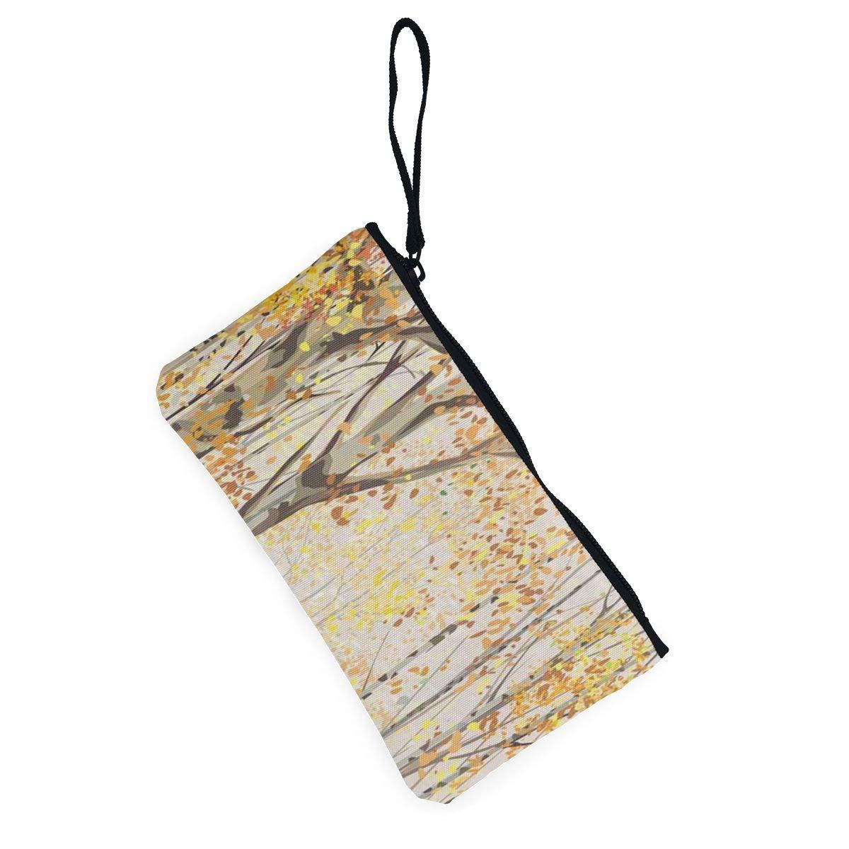 Coin Purse Birch Grove Fall Autumn Time Ladies Zipper Canvas Small Purse ChangeHot Bag