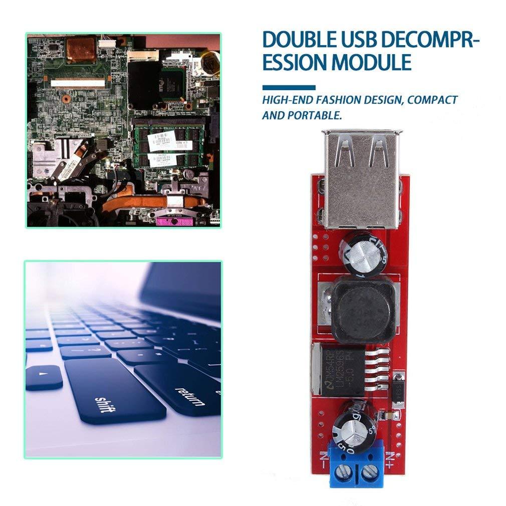 Kitechildhssd DC 6V-40V a 5V 3A Carga Doble USB M/ódulo convertidor Reductor DC-DC como Muestra la Imagen