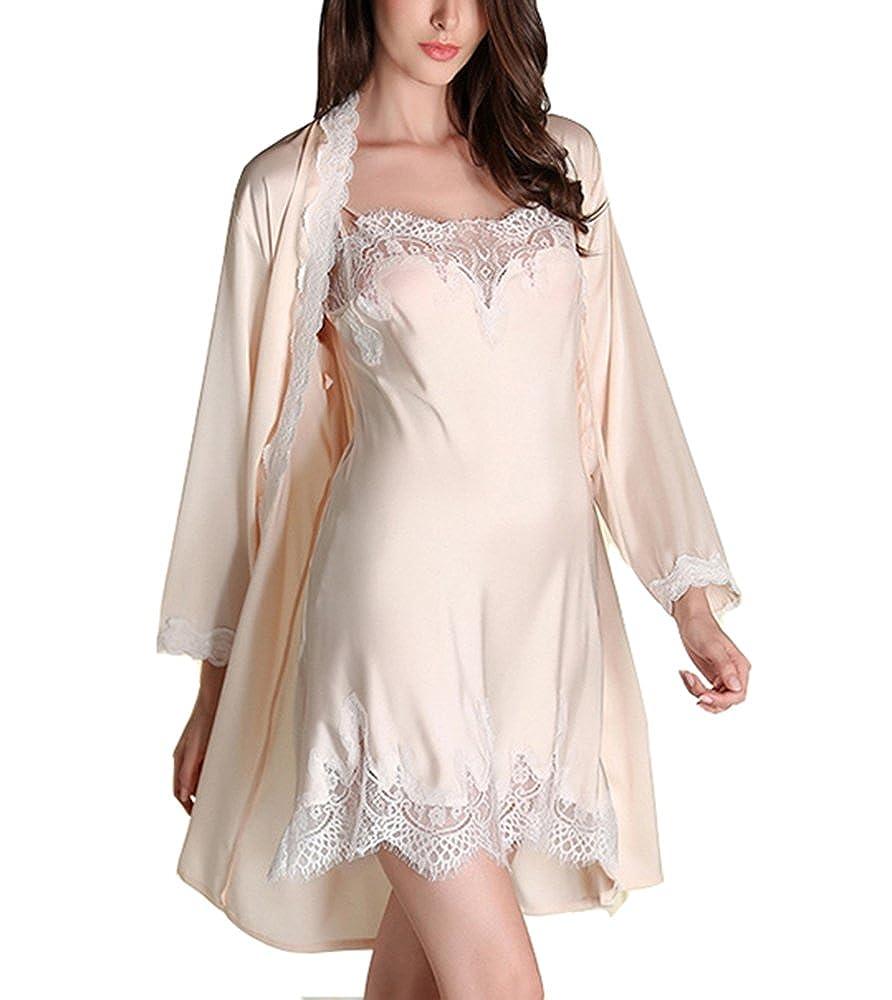 buy online 56f6a e2c00 Cheerlife Damen Seide Morgenmantel mit Nachtkleid Nachthemd ...