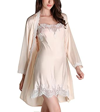 fed460be764b89 Cheerlife Damen Seide Morgenmantel mit Nachtkleid Nachthemd Spitze lange  Hülsen Pyjamas Zweiteilig Schlafanzug Nachtwäsche: Amazon.de: Bekleidung