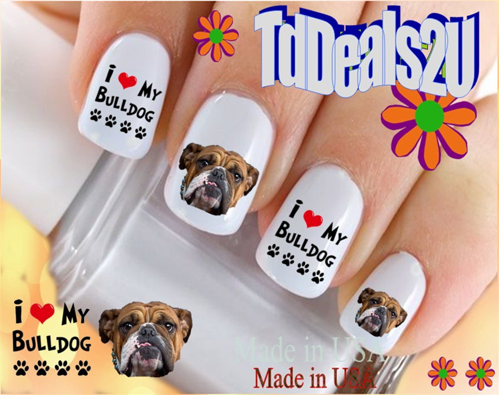 Amazon.com : 58 English Bulldog Nail Decals : Beauty