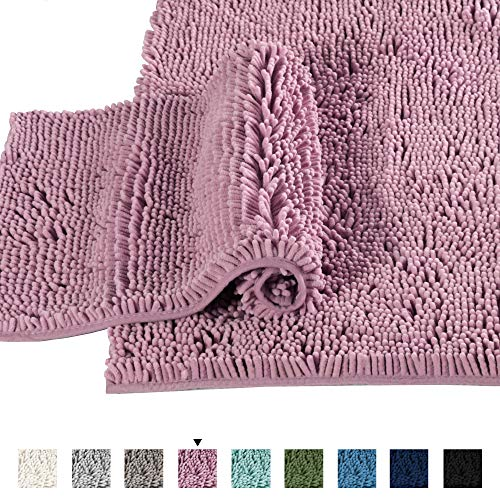 Mauve Bathroom Rugs Slip-Resistant Extra Absorbent Soft and Fluffy Bath Mat Set Chenille Bath Rugs, Floor Mats Dry Fast Machine Washable (Set of 2-20″ x 32″/17″ x 24″)