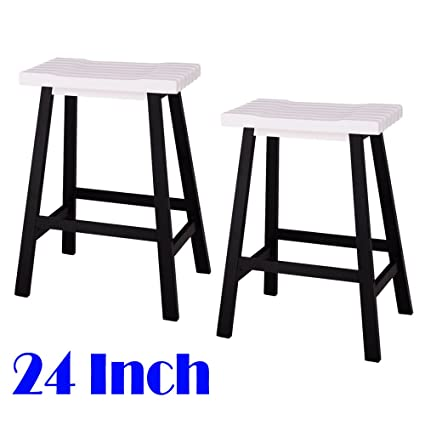 Teekland Wood Saddle Seat 24 Inch Counter Stool,Bar Pub Chair For Home  Kitchen
