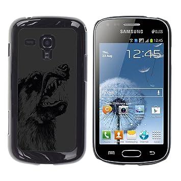 Qcase Samsung Galaxy S Duos S7562 Loup Dents Chien Dessin Au